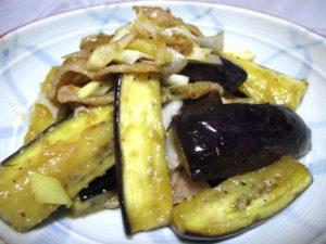 豚肉となすの生姜味噌炒め