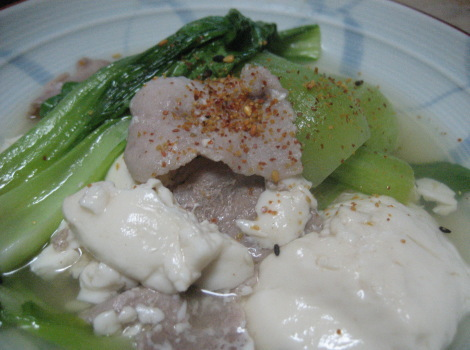 生姜たっぷり青菜の肉豆腐