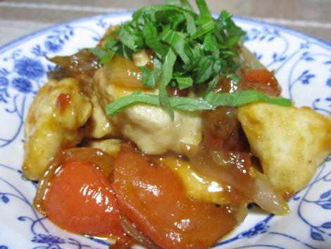 胸肉とトマトの梅炒め